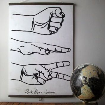 "Large Canvas Vintage Style School Chart with Wood Trim - Rock, Paper, Scissors (24"" x 35"")"
