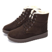 Women Flat Lace-Up Warm Snow Ankle Boots Fashion Winter Warm Shoes