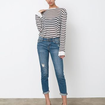 Carla Cropped Boyfriend Jeans - Blue Denim