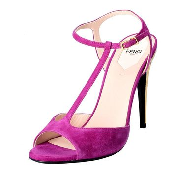 Fendi Women's Suede Fuchsia Open Toe T Strap High Heels Sandals Shoes
