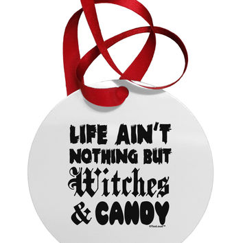 Witches and Candy Circular Metal Ornament