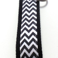 Black Chevron Wristlet Key Fob Key Ring Key Chain