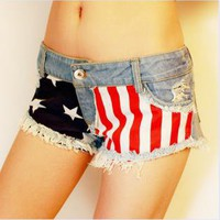 Jeans Shorts with US Flag B002
