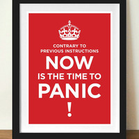 Keep calm  PANIC typographic poster print 11 x by visualphilosophy