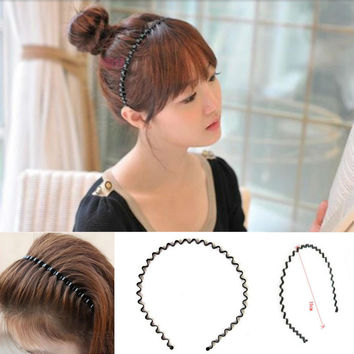 Fashion Simple Rim Korean Wave Hairbands Black Metal Bandeau Cheveux Hair Band Accessories A2R26