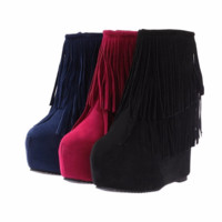 Stylish Fringe Tassel Ankle Bootie Wedge Boots