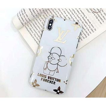 LV tide brand hot gold sun flower logo iphone8plus mobile phone case cover white