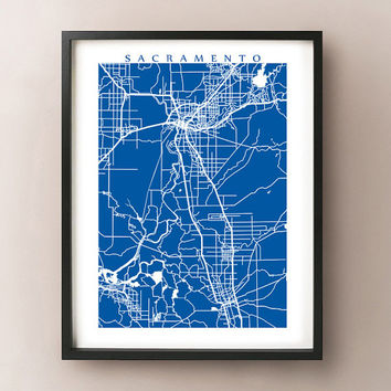 Sacramento Area Map - Sacramento County, California Poster Print