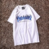 Thrasher flame Cotton Loose T-Shirt top White/Purple