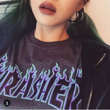 Thrasher Fashion Casual Print flame Bat Sleeve Cotton Loose T-Shirt top Grey G