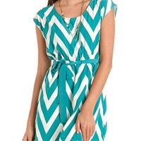 Belted Chevron Stripe Dress: Charlotte Russe