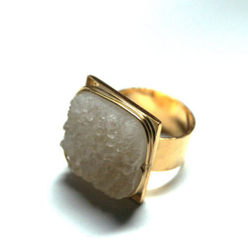 Mystic White Druzy Ring Adjustable Square Crystal Snowy Quartz 24K Gold Plated Hammered Wide Band