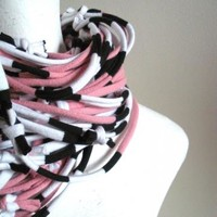 Chunky Pink and Black Infinity Scarf Fall Fashion Upcycled Handmade Winter Cowl Scarf Eco Friendly Scarf Black White Stripes Loop Scarf