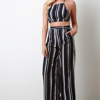 Striped Halter with Palazzo Pants Set