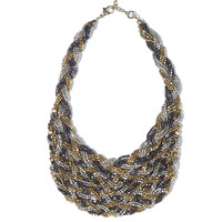 Golden necklace in chunky plait design