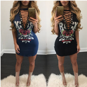Punk Style Lace Up Deep V Neck Short Bodycon Dress