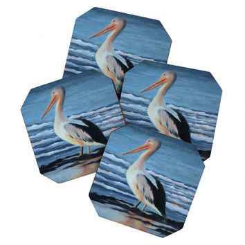 Rosie Brown Pelican Wading 2 Coaster Set