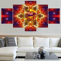 Classic Famous Minnesota Vikings Logo Paintings Wall Art Home Decor Picture Canvas Painting Calligraphy For Living Room Bedroom