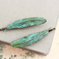 Feather Bobby Pin, Verdigris Patina feather, Hair Accessories, Teal Blue, Green Turquoise, Antiqu e Brass, Rustic, Pair, Woodland, Nature