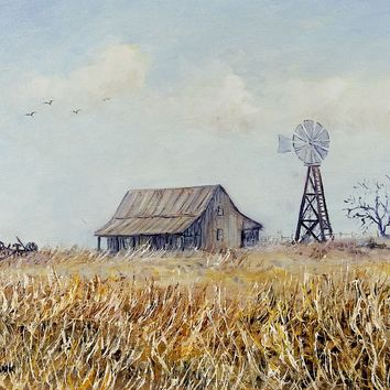 Old Farm & Winter Grass Painting