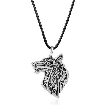 dongsheng Viking necklace Fox Triquetra Fenrir Animal Teen Wolf Necklace men Fashion Jewelry pendant Supernatural Amulet Knot