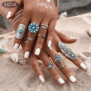 BYSPT 9pcs/set New Vintage Bohemia Style Engraving Animal Arrow Knuckel Ring Women Boho Retro Ring Sets Female Jewelry