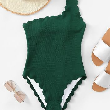 Scalloped Trim One Shoulder One Piece Swimsuit