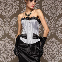 White Striped and Ruffled Corset