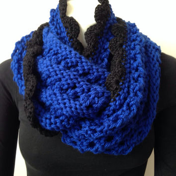 Chunky Knit Scarf, Royal Blue Scarf with Black Crochet Edging, Black and Blue Infinity Scarf, Blue Knit Cowl, Winter Circle Scarf