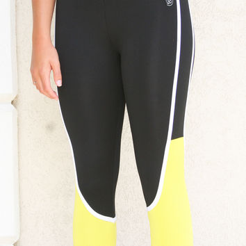 ANCHORA Active Leggings - Black/Yellow