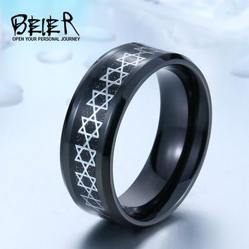 Beier new store 316L Stainless Steel ring David of star ring splendid pentacle men ring  high quality  Fashion jewelry  BR-R056