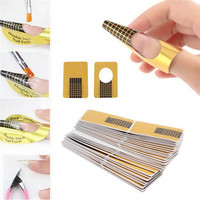 100% New 100pcs/set Professional Nail Tools Tips Nail Art Guide Form Acrylic Tip Gel Extension Sticker Nail Polish Curl Form