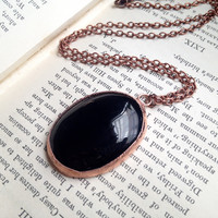 Black Oynx Necklace - Electroplated Stone Necklace - Sardonyx Gemstone