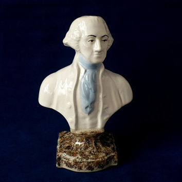 Vintage Ceramic Bust George Washington On Faux Granite Pedestal - Historical Bust