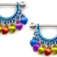 Nipple Ring Bars Rainbow Heart Body Jewelry Pair 14 gauge Body Piercing