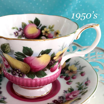 Vintage Royal Albert Tea Cup and Saucer, Teacup, Country Fayre Dorset, Pink Tea Cup, Birthday Gift