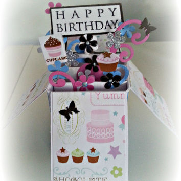 3d Box Card. Birthday Card. Ready to Ship. Diva. Frosting, Cake and Butterflies. Happy Birthday Message