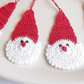 of 12 Crochet Santa Claus Christmas decorations Hanging Christmas ornaments Crochet Father Christmas