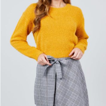 LONG SLEEVE ROUND NECK CROP SWEATER MUSTARD
