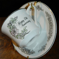 Enesco 25th Anniversary Tea Cup & Saucer - Silver Anniversary