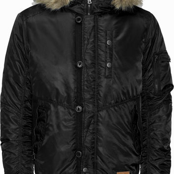 Jack & Jones Rob Faux Fur Hooded Bomber Jacket