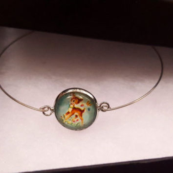 Silver Bracelet Deer Fawn Sweet Cabochon Nature Bangle BoHo Chic