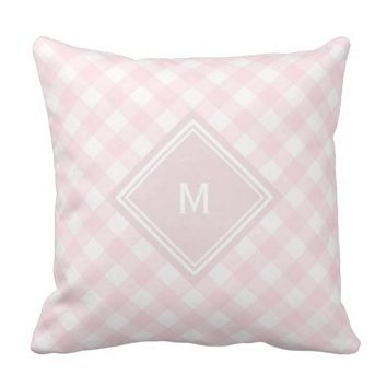 Pale Pink Gingham with Diamond Monogram Throw Pillow