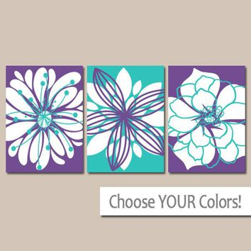 Purple Turquoise Wall Art, CANVAS or Print Purple Nursery Decor, Girl Bedroom Wall Decor, Flower Dahlia, Purple Bathroom Set of 3 Home Decor