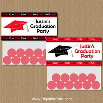 Personalized Graduation Bag Toppers - Printable Graduation Party Favors - Graduation Goodie Bag Labels - Red & Black Class of 2016 Bag Tags
