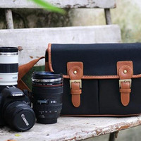 Large Handcrafted Leather DSLR Camera Bag Black Canvas Bag H120