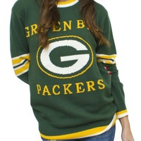 NFL Green Bay Packers Unisex Throwback Intarsia Sweater - Women's Sale - Long Sleeve - Junk Food Clothing