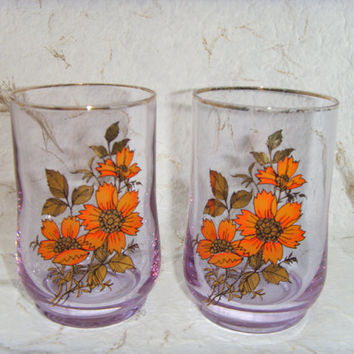 Set of 2 Soviet Vintage Glasses with Flower Drawing Made in USSR in 1970s.