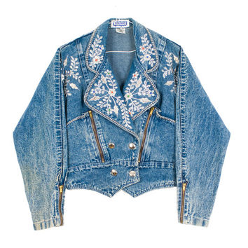 Vintage 1980s Kokomodo Embellished Bedazzled Acid Wash Denim Jacket With Big Collar