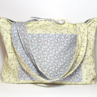 Reversible Tote Bag - Spring Floral - Yellow Gray Blue - Mothers Day